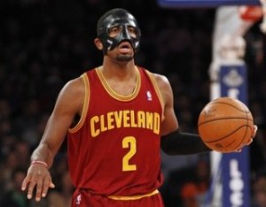 Cleveland Cavaliers' Irving brings the ball up court against New York Knicks during their NBA basketball game in New York