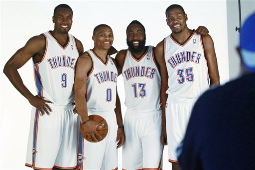 Serge Ibaka, Russell Westbrook, James Harden, Kevin Durant
