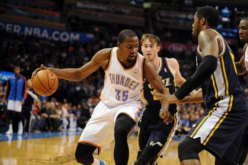 durant hayward favors ibaka thunder jazz