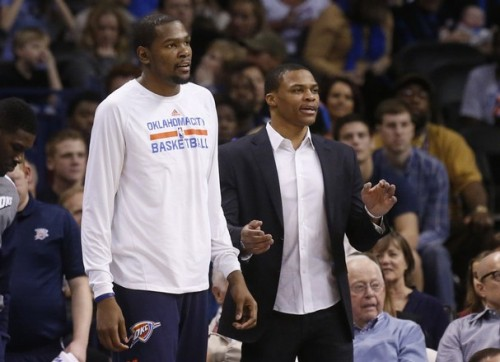 durant westbrook thunder bench